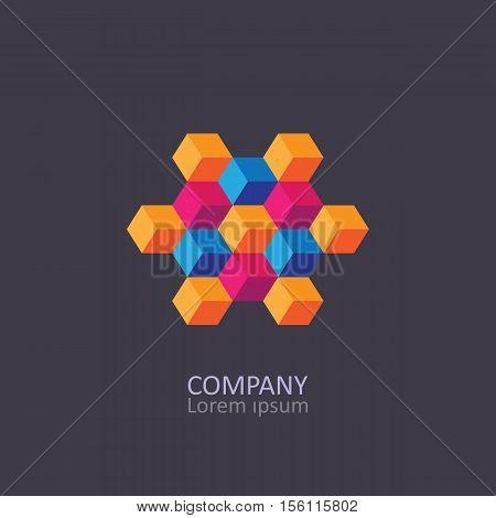 Geometric cubic isometric logo or emblem. Vector illustration.