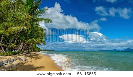 Sunny day with blue cloudy sky at tropical Maenam beach Koh Samui Thailand