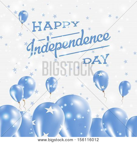 Micronesia, Federated States Of Independence Day Patriotic Design. Balloons In National Colors Of Th