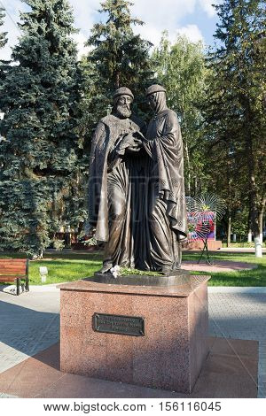 Khimki, Russia-September 03. 2016. The monument of St. Peter and Fevronia