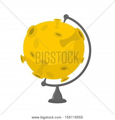 Moon School Globe . Planet Geographical Sphere. Yellow Planet Model. Astronomical Objects Or Celesti