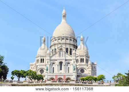 Sacre-Coeur Basilica on Montmartre Paris France with blue sky