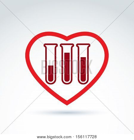 Donor blood heart and Circulatory system icon test tube virus epidemic vector conceptual stylish symbol for your design.