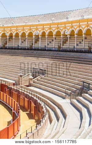 SEVILLE SPAIN - JUNE 4: Plaza de toros de la Real Maestranza de Caballeria de Sevilla on June 4 2014 Spain. Also called Plaza de Toros of Seville it is the oldest spanish bullring