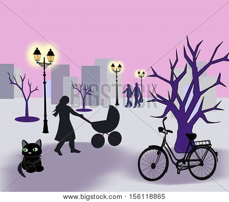 A street with a cat, some trees, a woman with stroller and a bike.