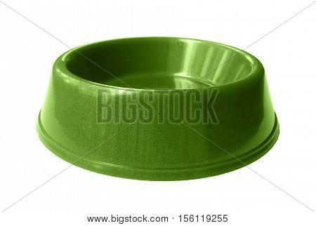 Cat, dog rodent feeding green bowl isolated on white background