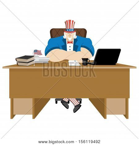 American Patriot Boss. Uncle Sam Sitting In Office. Businessman From United States At Table. Workpla
