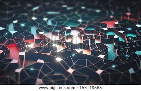 3D illustration. Artificial intelligence connections and nucleus in concept of interconnected neurons. Abstract background with binary numbers neural network and cloud computing.