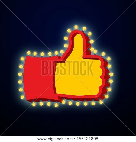 Thumb Up Sign With Glowing Lights. Like Symbol Of Retro Plate Hand With Light Bulb. Vintage Directio