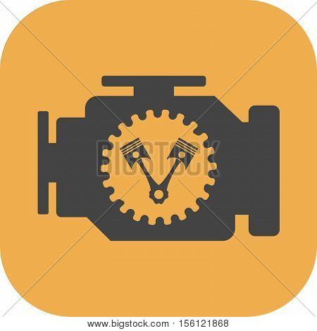 Car engine, pistons and rods flat icon
