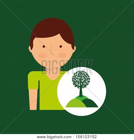 environment icon boy with nature tree vector illustration eps 10