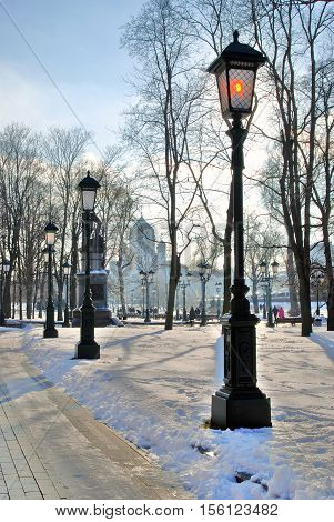 Alexanders Garden in Moscow. Color photo. Winter scene.