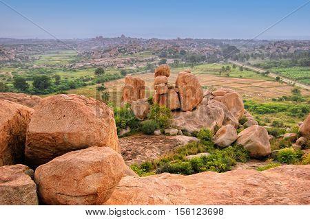 Picturesque view from the Malyavanta Hill in Hampi Karnataka India.
