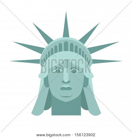 Head Of Statue Of Liberty. Face Sculpture America. Monument In Us Architecture. National Historic La