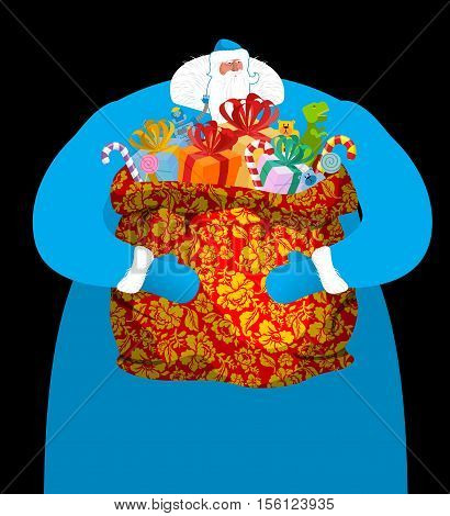 Father Frost Russian Santa Claus. Great Grandfather In Blue Suit And Big Red Sack Khokhloma Painting