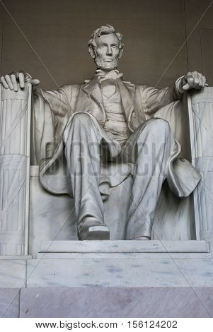 Iconic Lincoln statue at Lincoln Memorial Washington DC USA