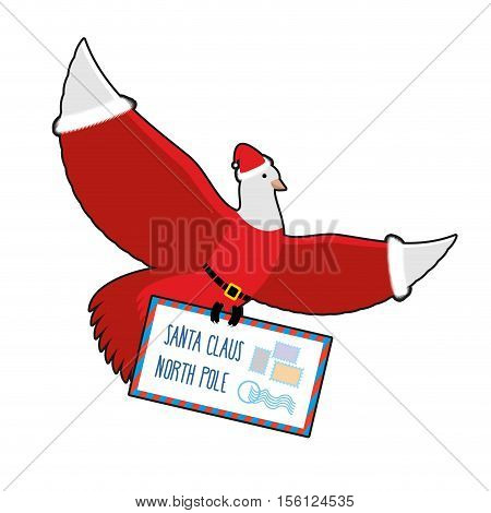 Christmas Dove Carries Mail To Santa Claus. Postal Pigeons In Santas Cap And Red Suit. Post With Chi