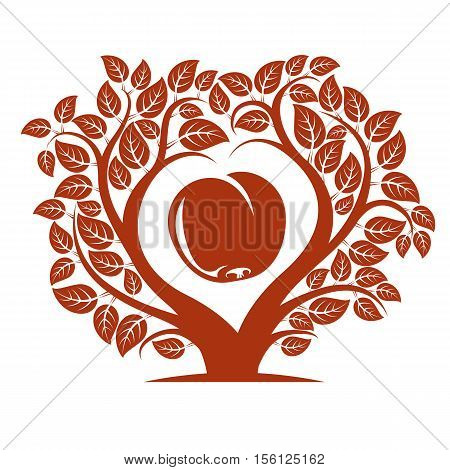 Vector illustration of tree with leaves and branches in the shape of heart with an apple inside.