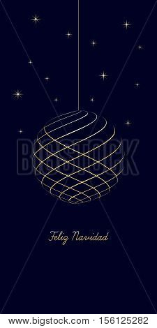 spanish christmas background with text Merry Christmas on dark blue background very soft gold colored elements christmas ball and stars spain holiday isolated illustration