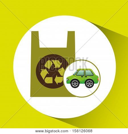 eco car icon environment plastic bag vector illustration eps 10