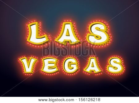 Las Vegas Sign With Glowing Lights. Retro Label With Light Bulb. Vintage Direction Pointer. Glitteri