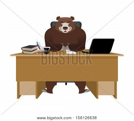 Businessman From Russia. Bear Sitting In An Office. Russian Big Boss At Table. National Folk Chief.