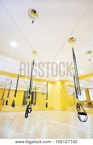 aerial ribbons in a modern fitness hall
