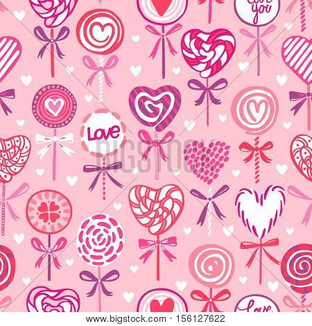 Vector seamless pattern with pink heart shaped lollipops