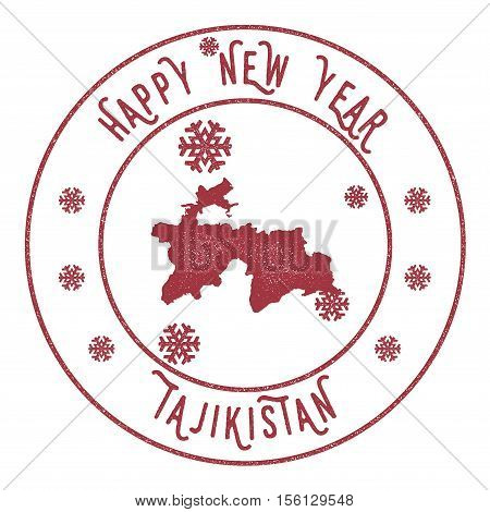 Retro Happy New Year Tajikistan Stamp. Stylised Rubber Stamp With County Map And Happy New Year Text