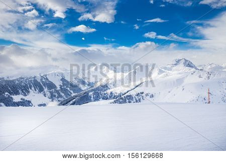 Trees Covered By Fresh Snow In Austria Alps From Kitzbuhel Ski Resort, Austria, Europe.