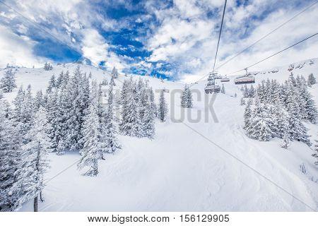 Chair Lift In Austria Alps In Kitzbuhel, Austria, Europe.