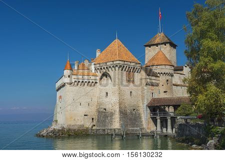 MONTREUX, SWITZERLAND - September 02: Castle Chillon (Chateau de Chillon) at Lake Geneva in Montreux, Switzerland on September 02, 2016