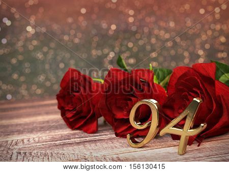birthday concept with red roses on wooden desk. 3D render - ninety-fourth birthday. 94rd