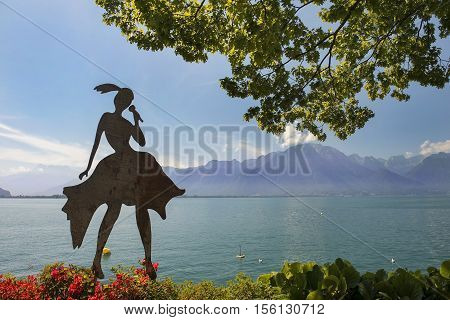 MONTREUX, SWITZERLAND - September 02: modern sculpture on the shores of Lake Geneva in Montreux, Switzerland on September 02, 2016