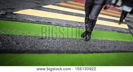 Man Cross Street At Crosswalk In The City