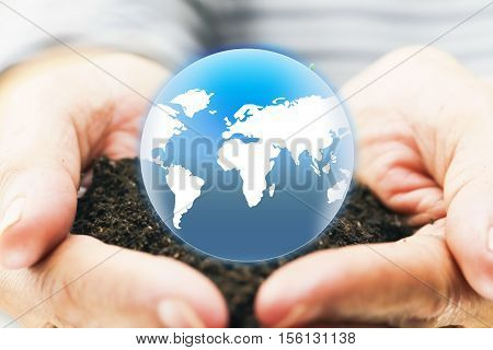 woman hands holding the earth . protection planet mother earth concept:reduce carbon dioxide emission:pure air