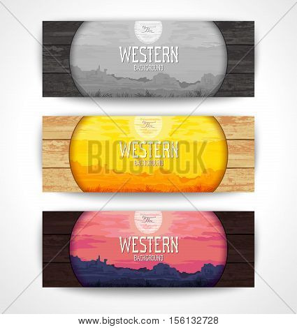 Set of creative banners with Western scenery in the style of pop art. Vector illustration