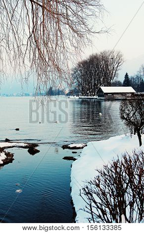 Wintry Lake With Boathouse And Overhanging Branches