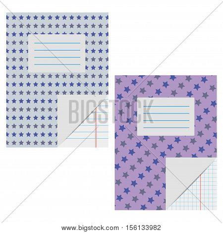 School notebook vector illustration. Blank copybook template