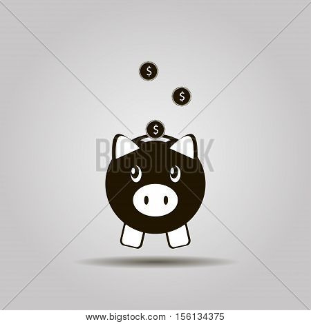 Piggy bank icon. Pictograph of moneybox, Piggy bank and dollar coin icon