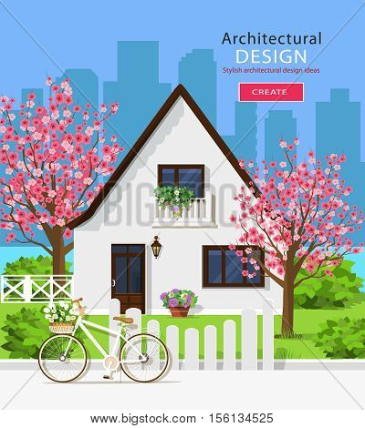 Cute white private house with sakura trees. Stylish graphic set: house, green yard, trees, fence, bicycle, flowers and city background. Vector illustration.