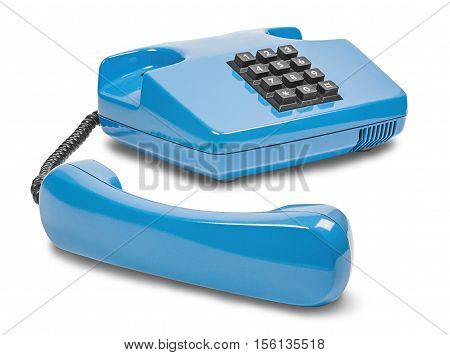 blue desk phone on a the isolated white background