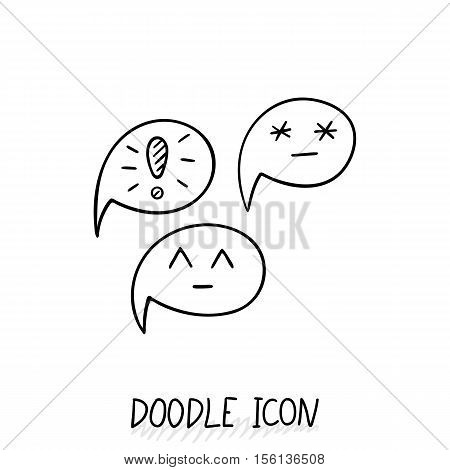 Doodle chatting icon. Text bubble. Cloud for messages, posts, sms. Smiles, warning.