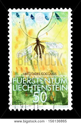 LIECHTENSTEIN - CIRCA 1989 : Cancelled postage stamp printed by Liechtenstein, that shows Owly Sulphur.