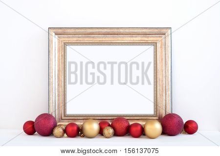 Christmas styled mockup landscape frame with red and gold baubles overlay your business message promotion headline or design great for lifestyle bloggers and social media campaigns