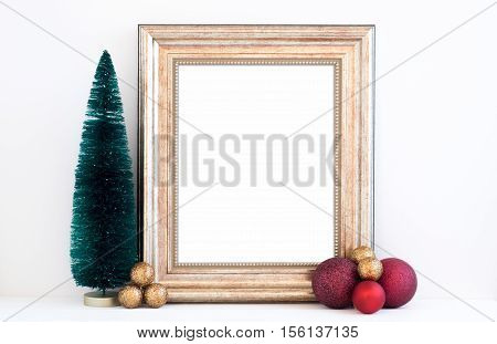 Christmas styled mockup portrait frame with christmas decorations overlay your business message promotion headline or design great for lifestyle bloggers and social media campaigns