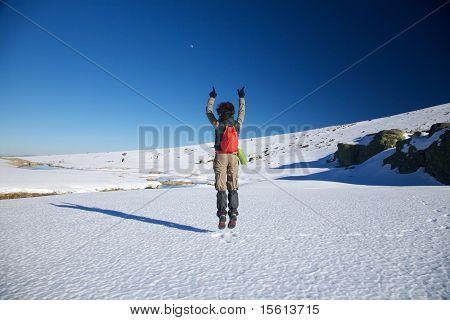 Flying Winter Hiking Woman