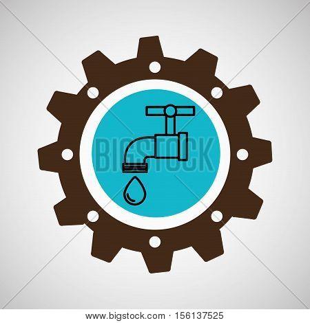 symbol environment gear tap water vector illustration eps 10