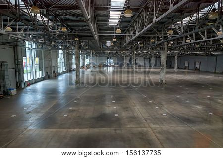 Large empty storehouse with no goods in it