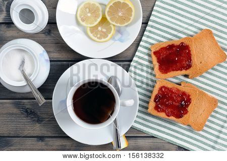 Breakfast With Tea And Rusks With Jam